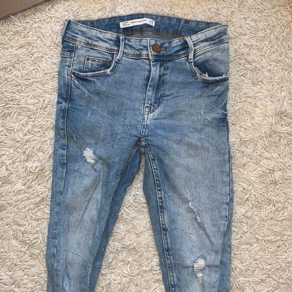 ZARA Distressed Skinny Blue Jeans